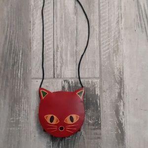 Leather rare kids cat purse